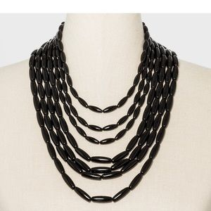 Layered Black Resin Necklace